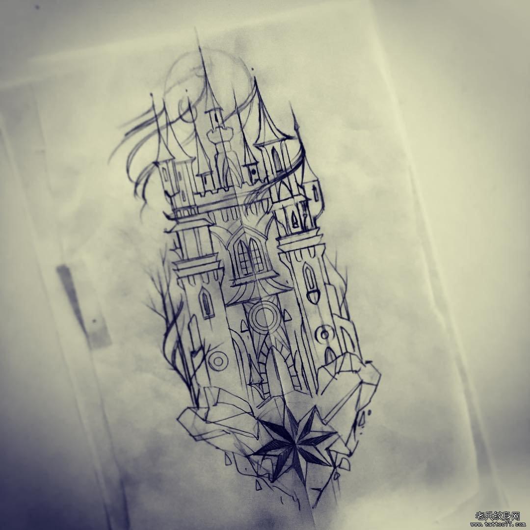线条城堡纹身手稿