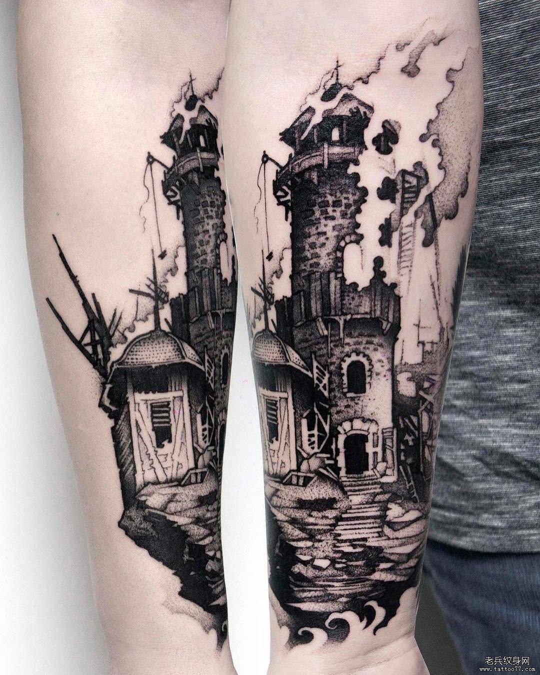 暂停播放          线条城堡纹身手稿          黑灰天使侧腰纹身图案