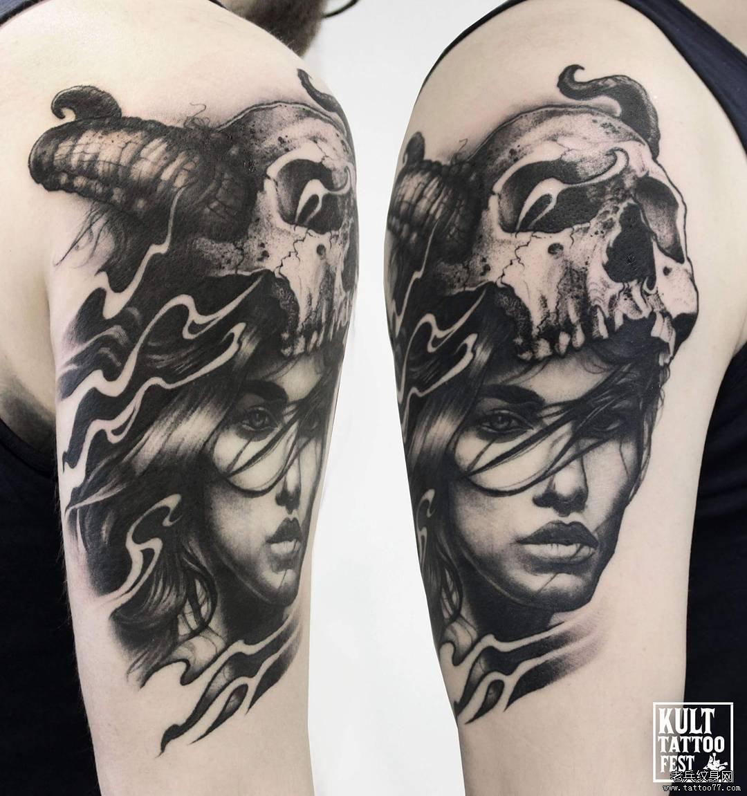 手臂黑灰狐狸小王子纹身图案