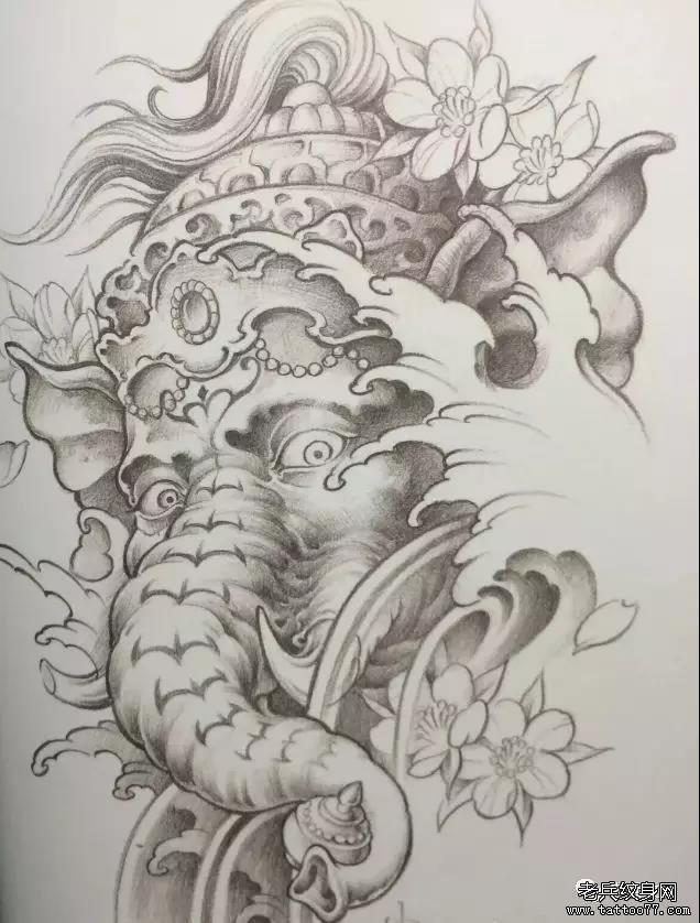 纹身素材第453期——象神