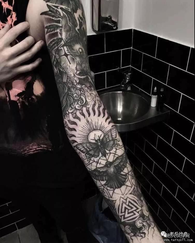 纹身素材第465期——黑灰风格花臂