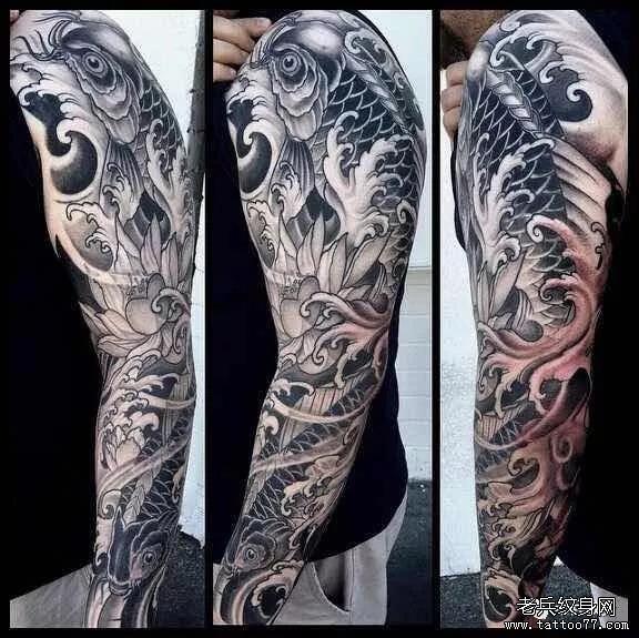 纹身素材第466期——日式浪花花臂