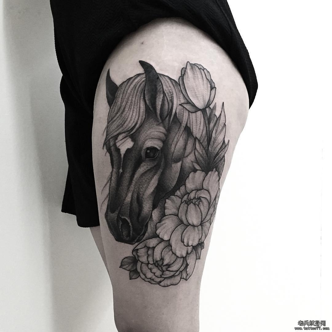 欧美马大腿纹身图案