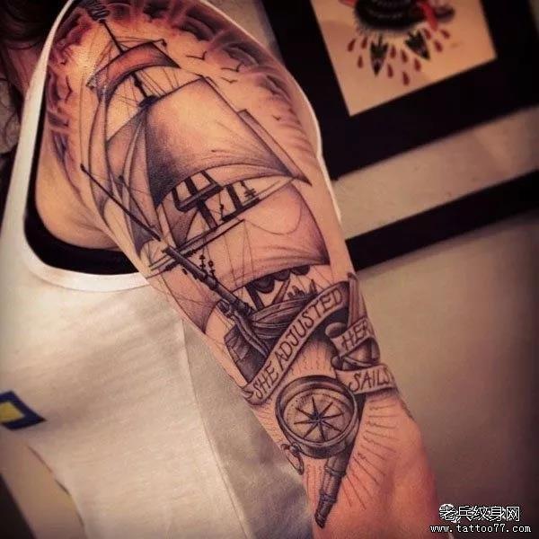 纹身素材第492期——帆船
