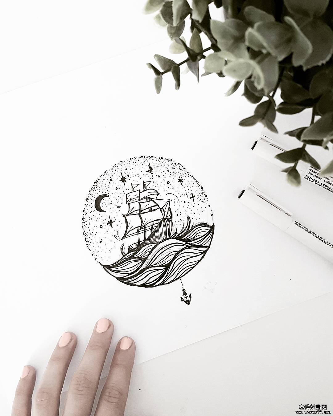 黑灰帆船海浪纹身手稿
