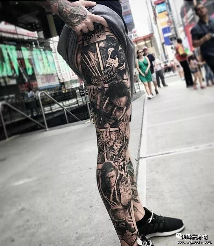 纹身素材第516期——男生花腿图片