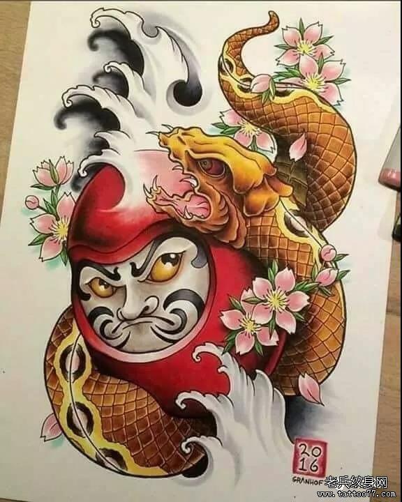 纹身素材第517期——日式达摩手稿