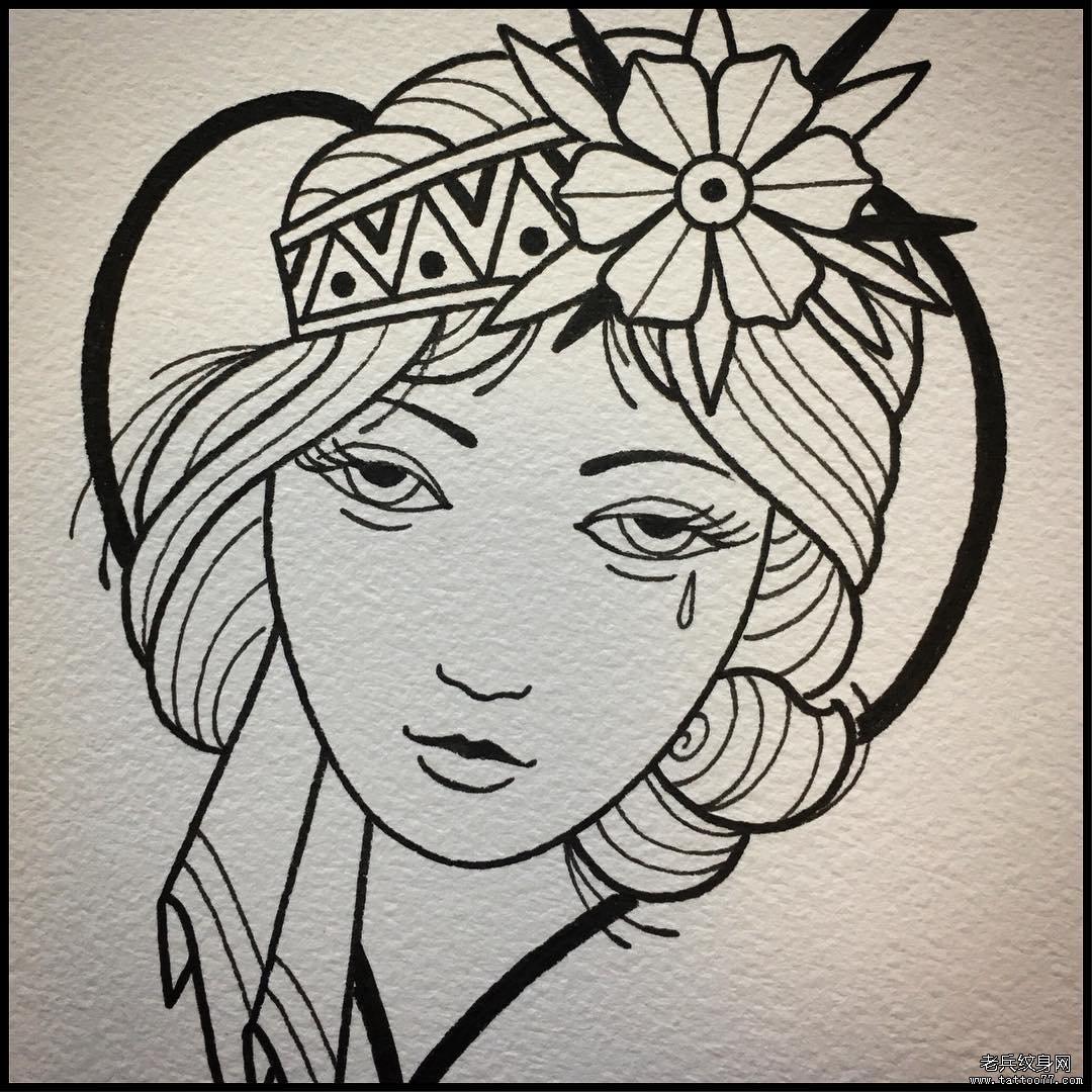 school女郎线条纹身手稿