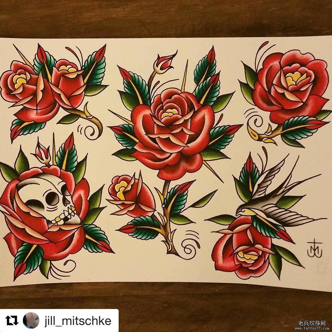 色彩玫瑰纹身手稿