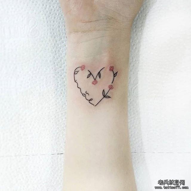 小清新花环手腕纹身图案
