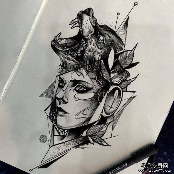 暂停播放          几何水彩欧美写实女郎纹身图案