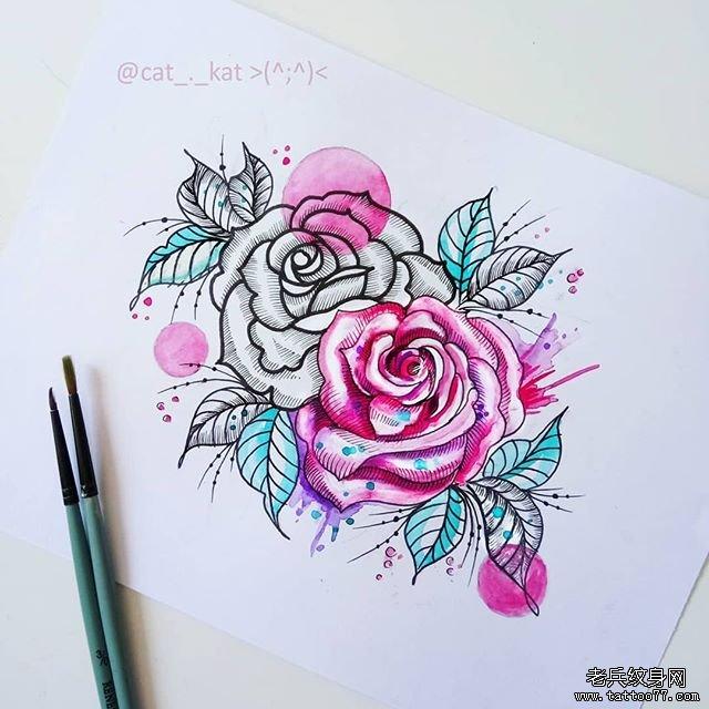 色彩玫瑰花纹身手稿