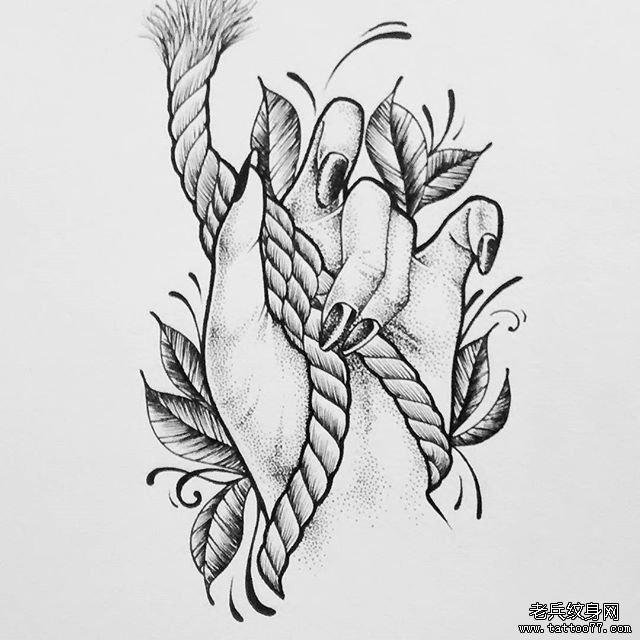 黑灰手绳子纹身手稿