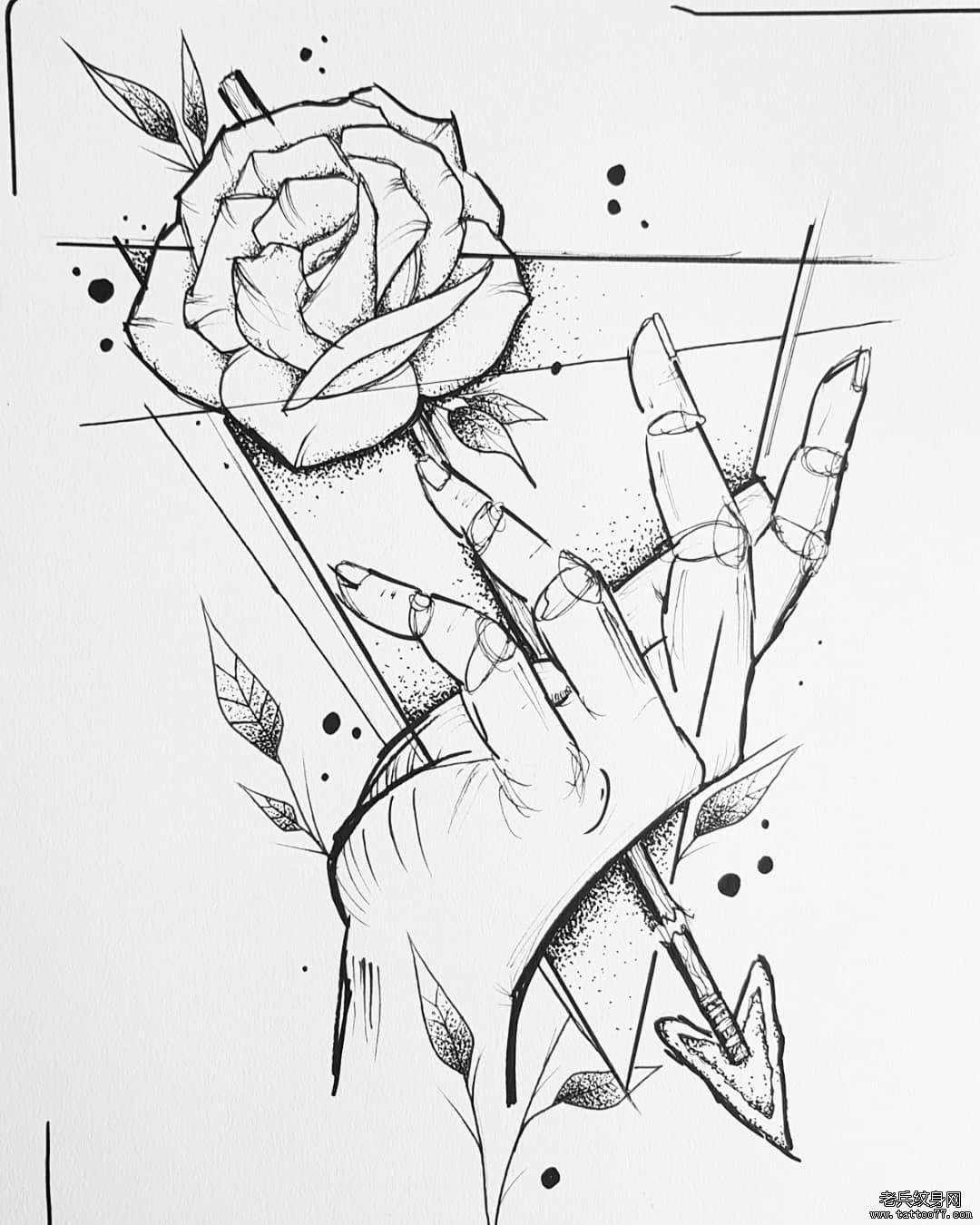 线条手玫瑰花纹身手稿