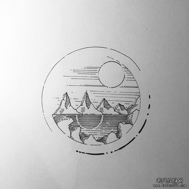 线条太阳山纹身手稿