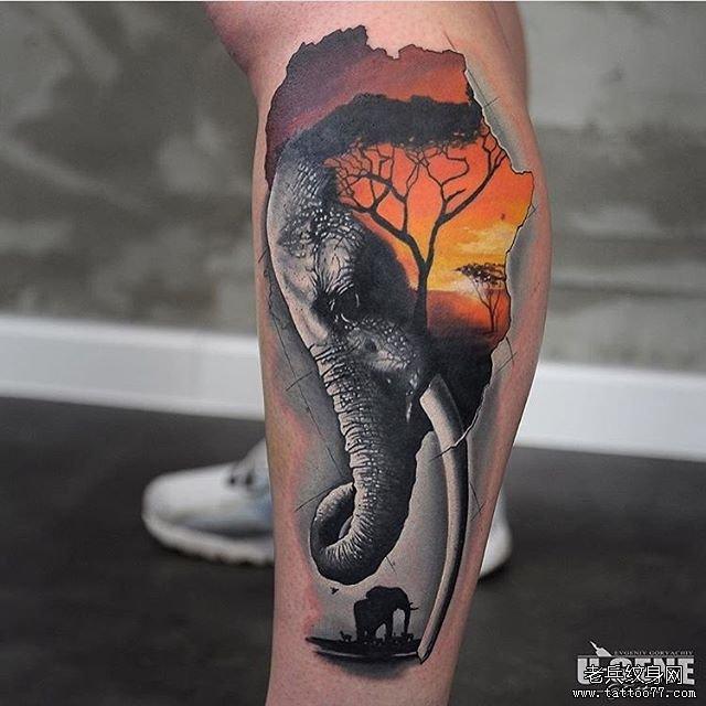 小腿大象树木纹身图案