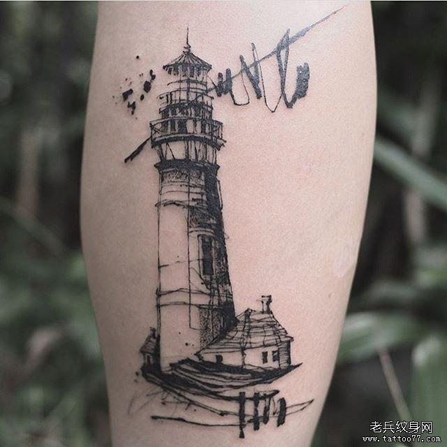 小腿水墨灯塔纹身图案