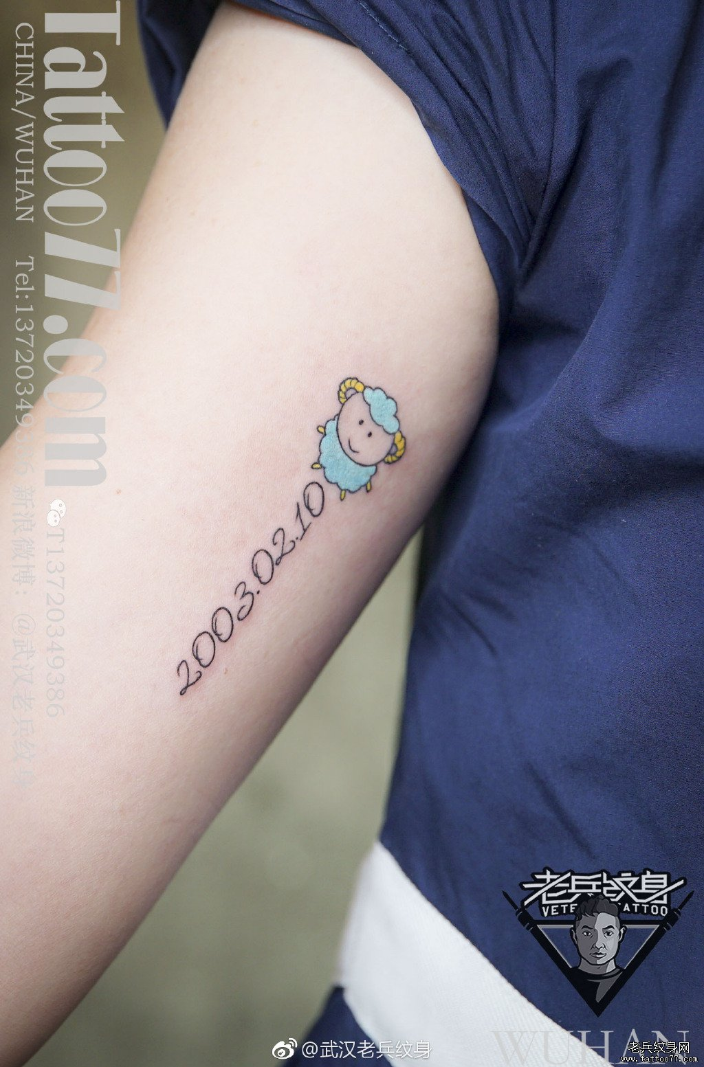 大臂色彩数字羊纹身图案