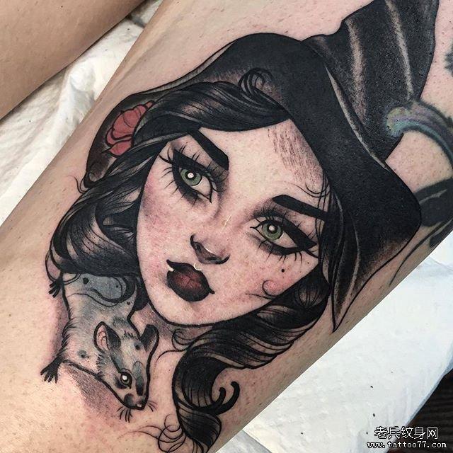 骷髅玫瑰纹身图案