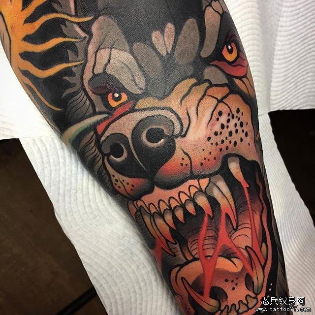 色彩狼纹身图案
