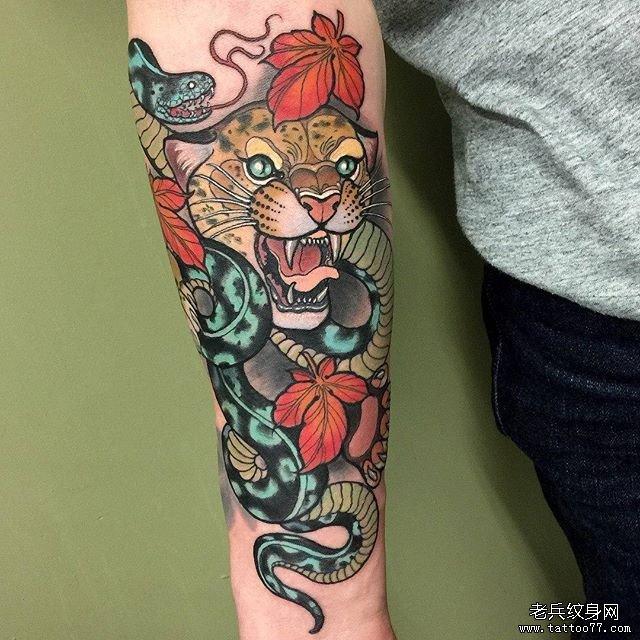 豹子蛇纹身图案