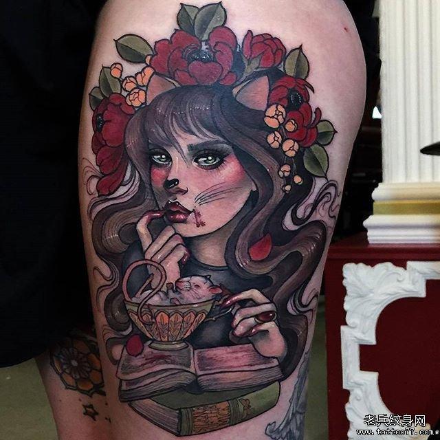 女郎老鼠杯子书纹身图案图片