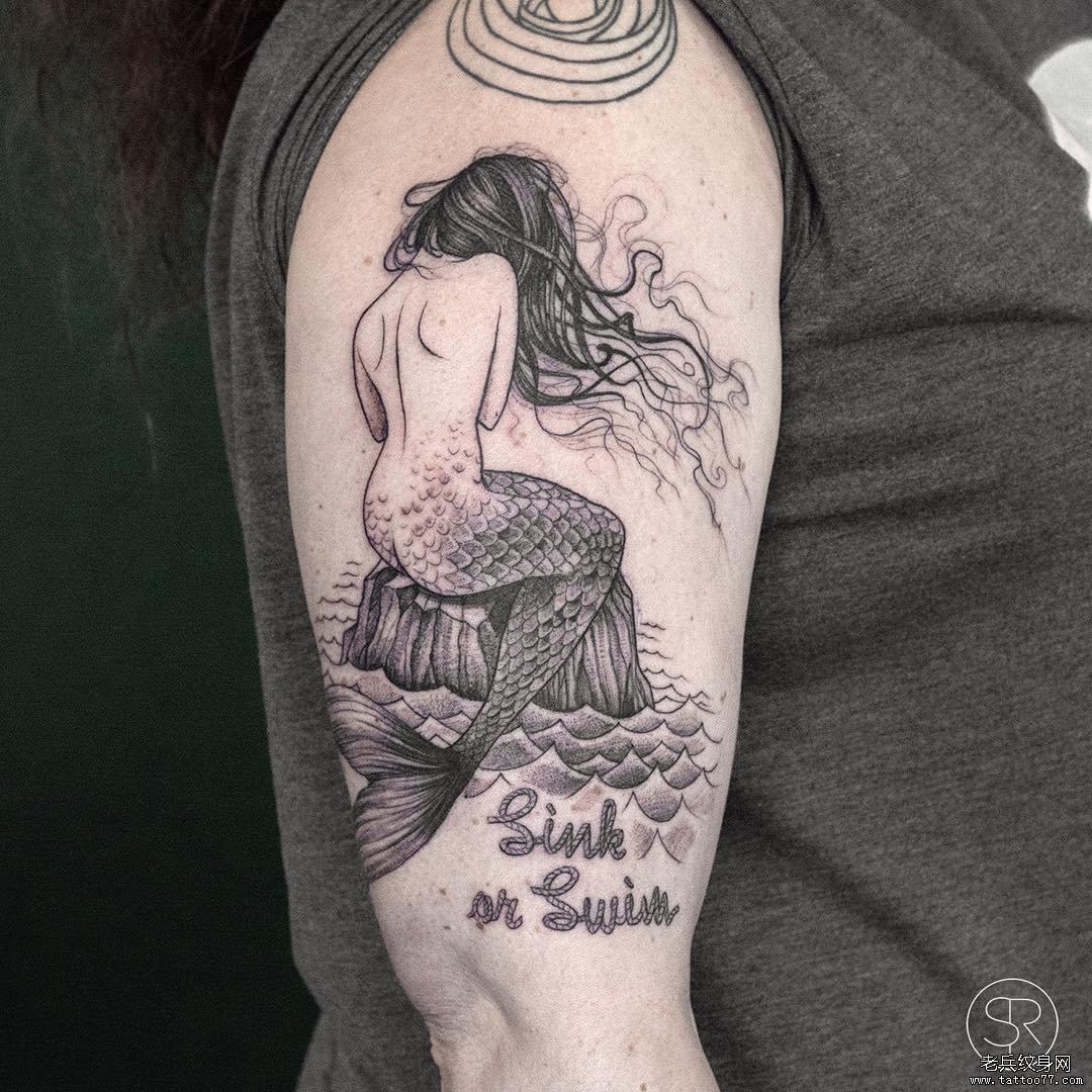 黑灰美人鱼纹身图案
