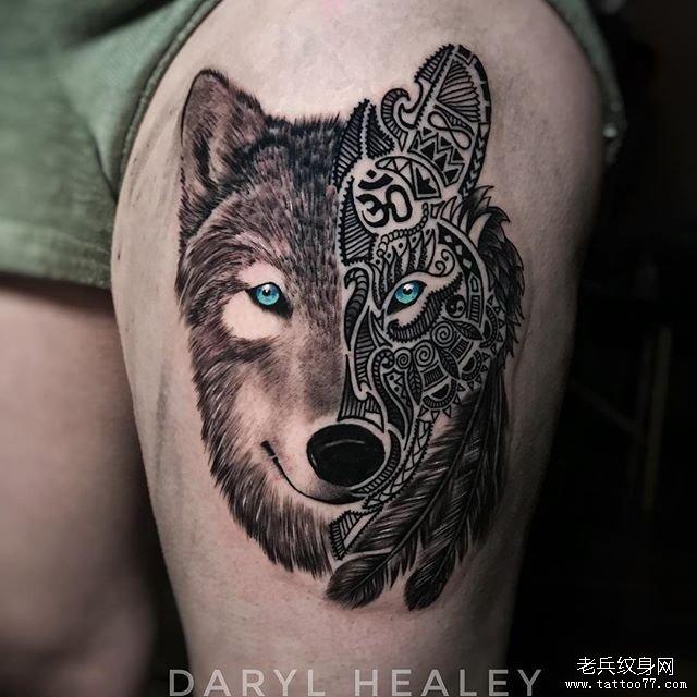 几何狼纹身图案