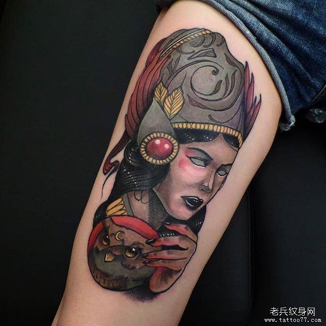 狐狸面具纹身手稿图片