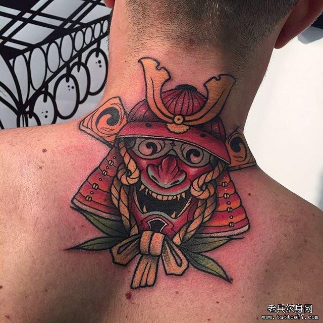 后背鬼武士纹身图案
