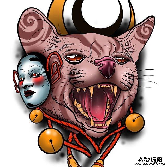 狐狸面具纹身手稿
