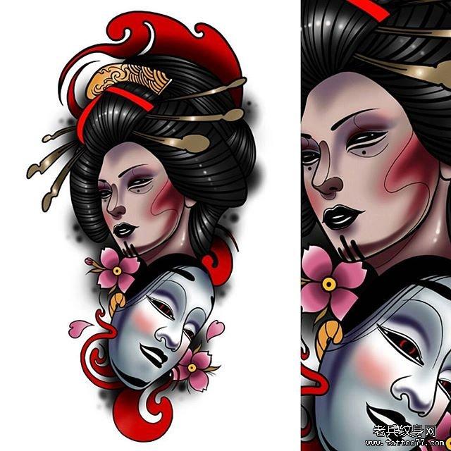 艺伎面具纹身手稿图片