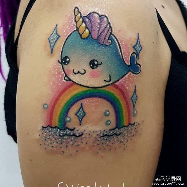 小孩独角兽纹身图案