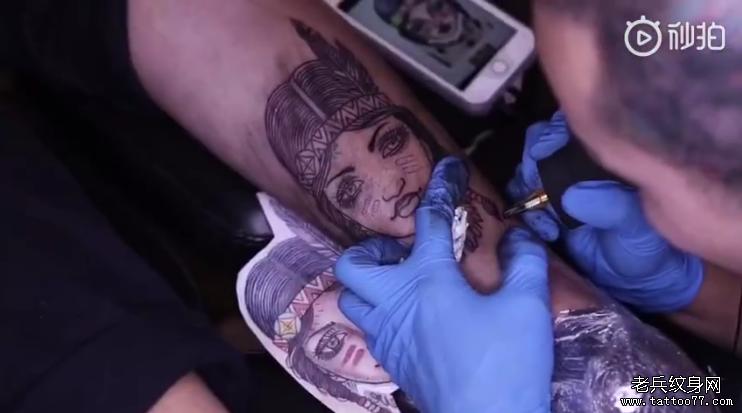 小腿印第安人纹身视频