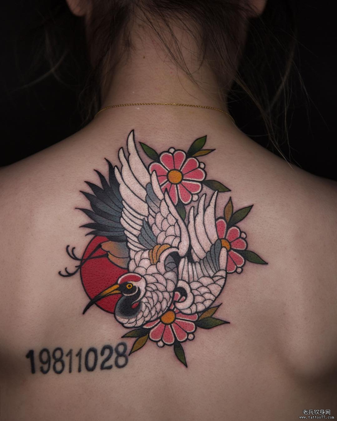 后背满背彩色狼纹身图案
