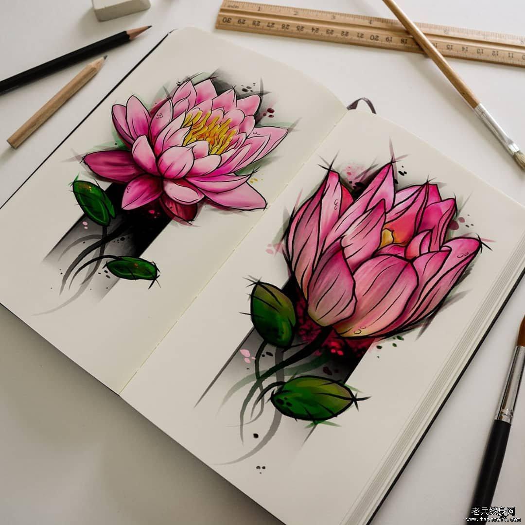 彩色荷花纹身手稿图案