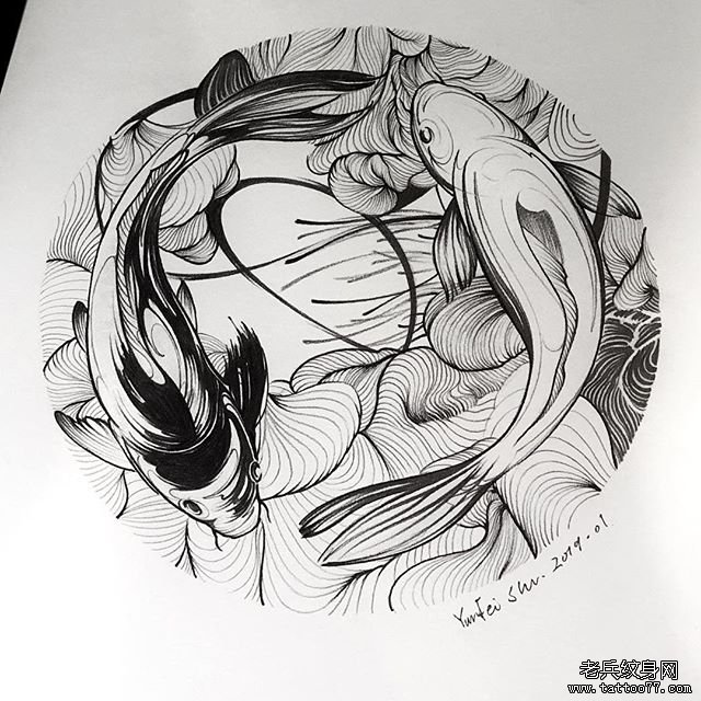 黑灰鲤鱼纹身手稿图案