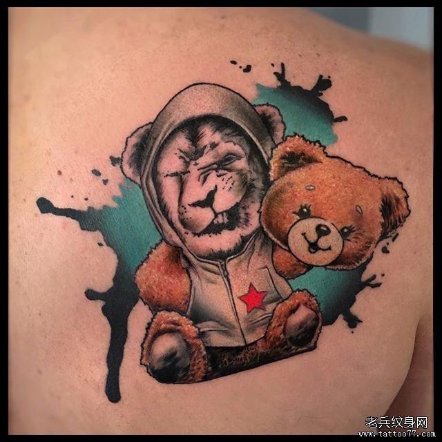 卡通泼墨泰迪熊狮子纹身图案