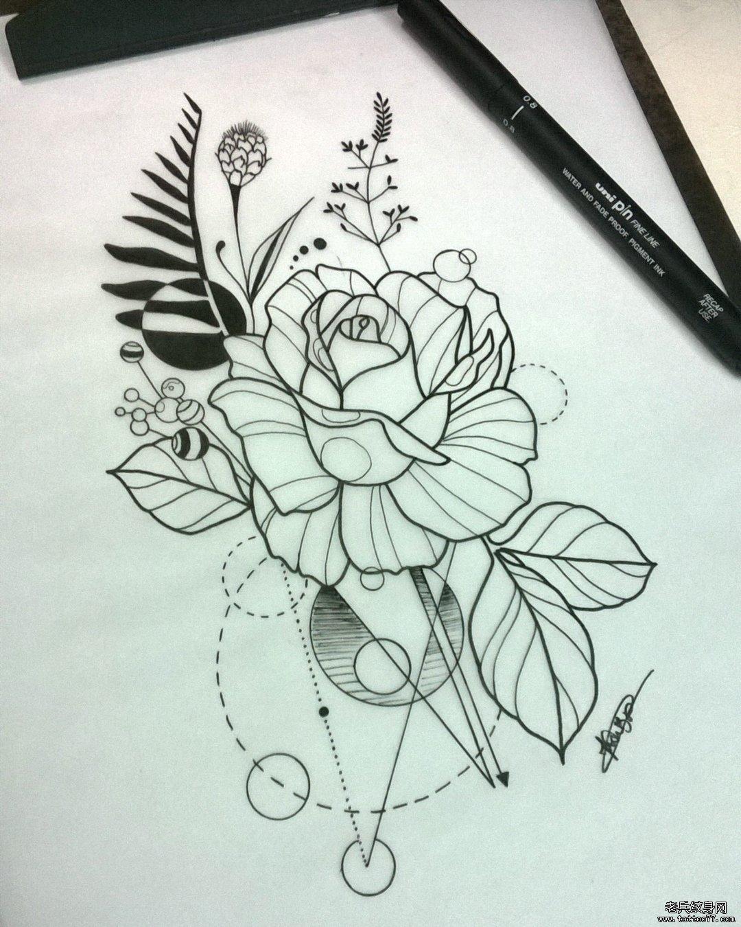 黑白线条玫瑰花纹身图案图片