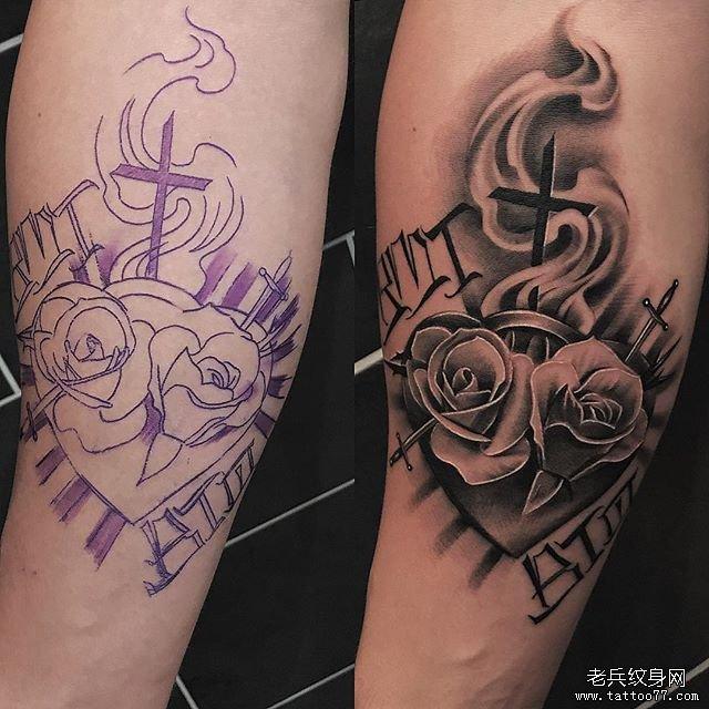 手臂彩色玫瑰花纹身图案