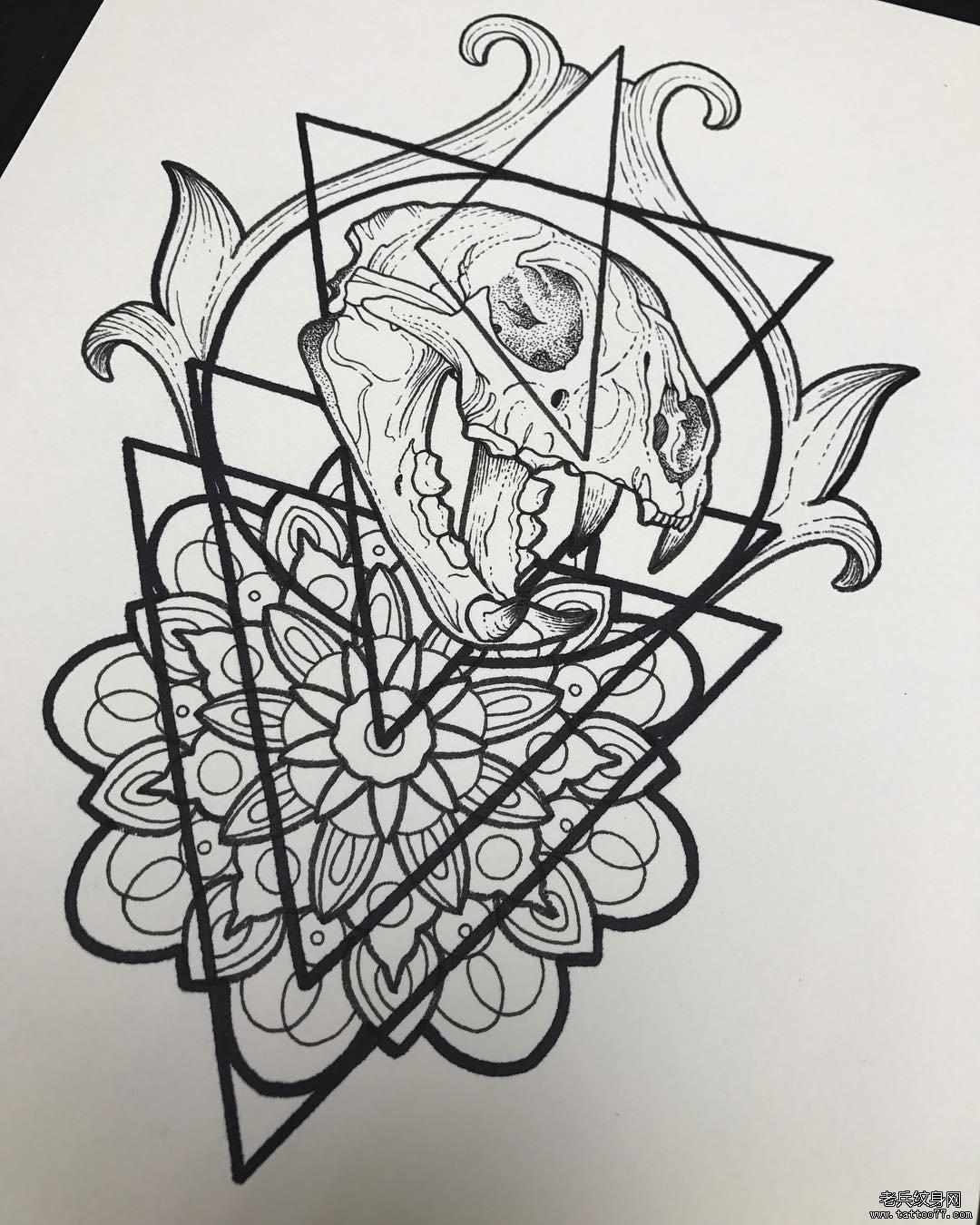 彩色骷髅纹身手稿图案