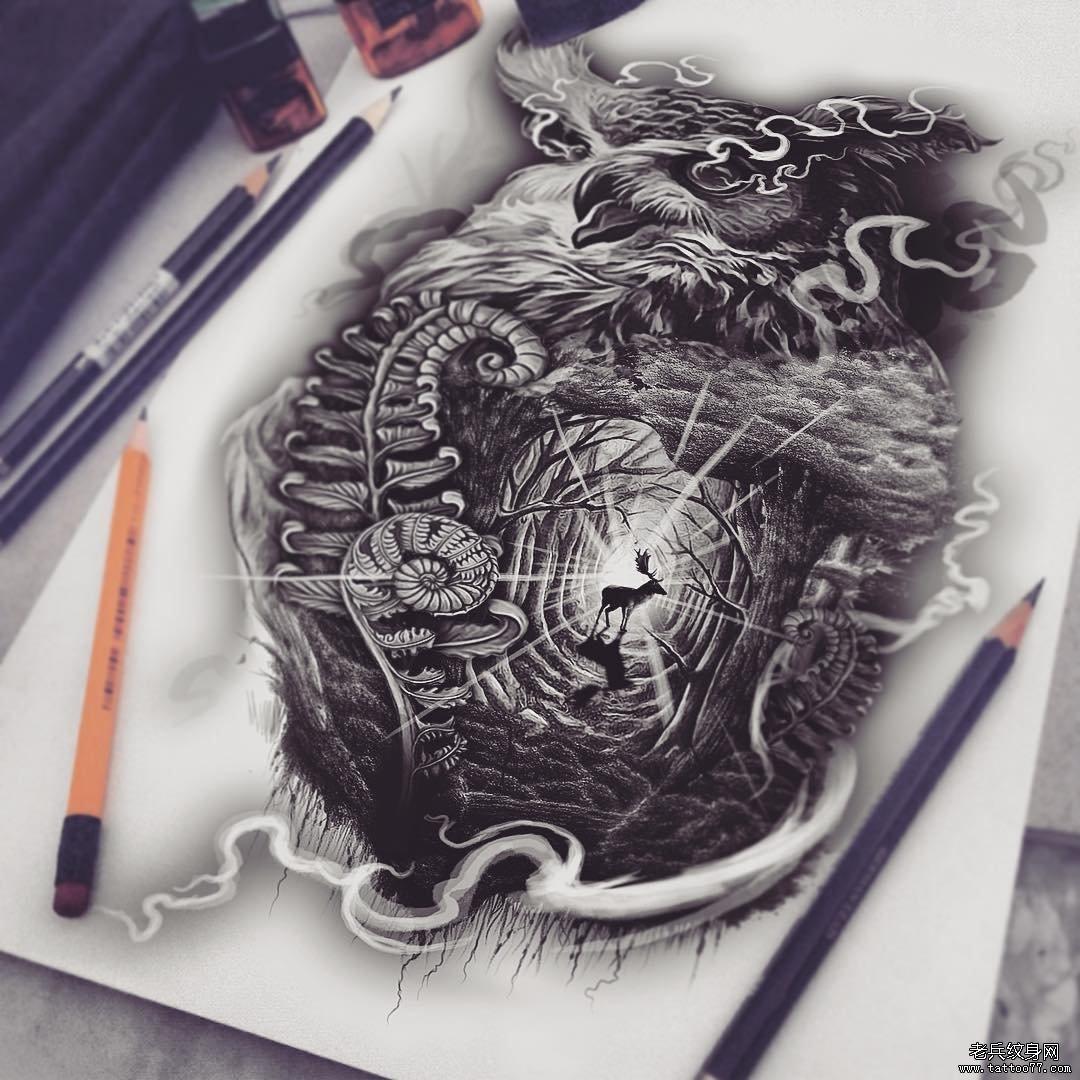 黑灰猫头鹰森林鹿纹身图案