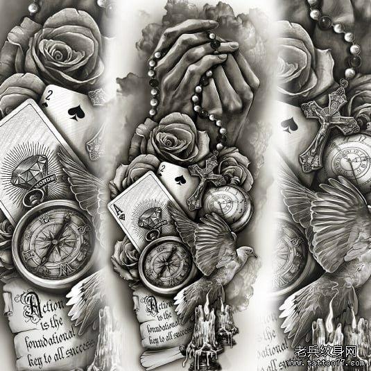 欧美黑灰手玫瑰花扑克牌纹身图案图片