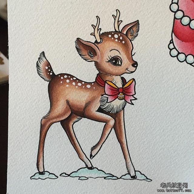 彩色小鹿纹身图案图片