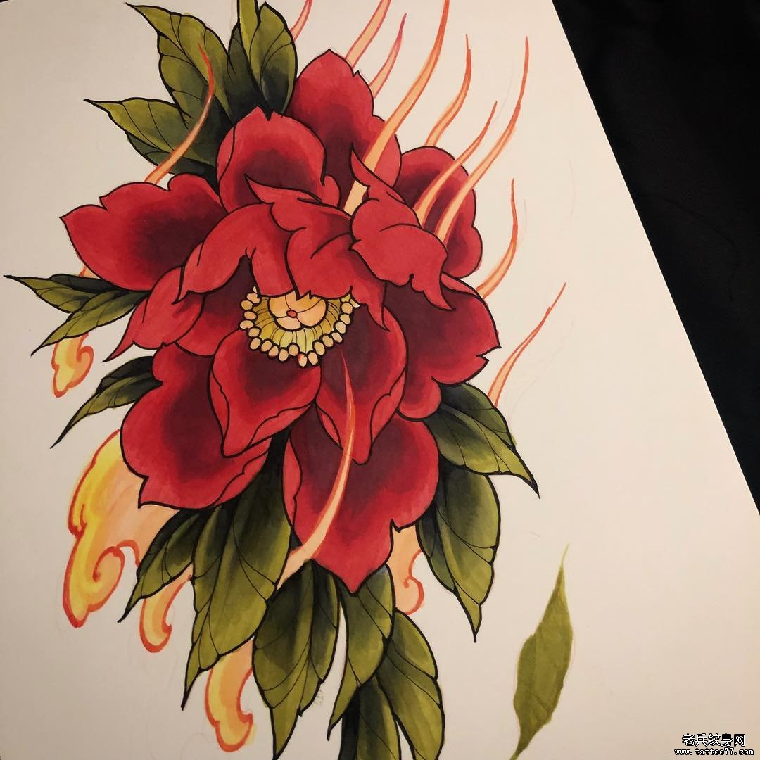 彩色牡丹花纹身手稿图案
