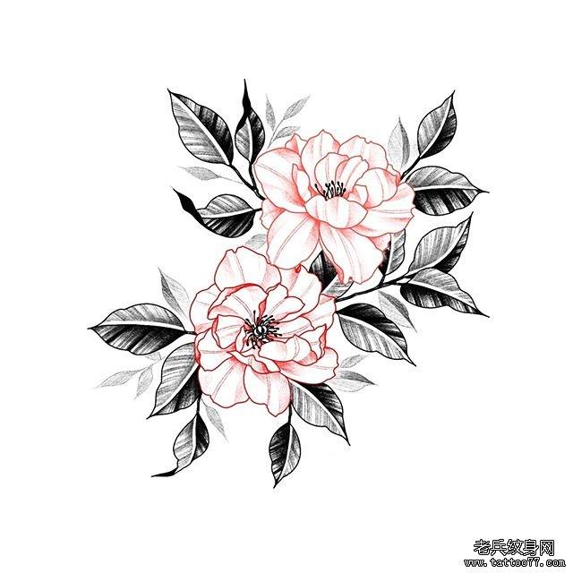 手臂爱心玫瑰花十字架纹身图案