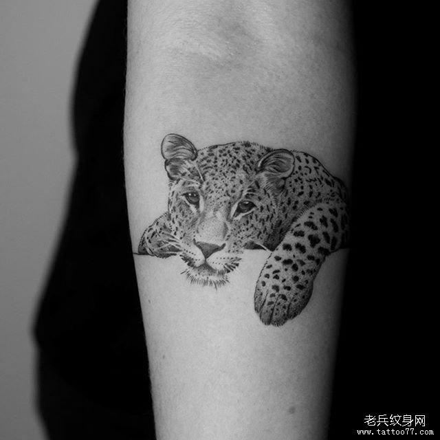 手臂黑灰豹子纹身图案