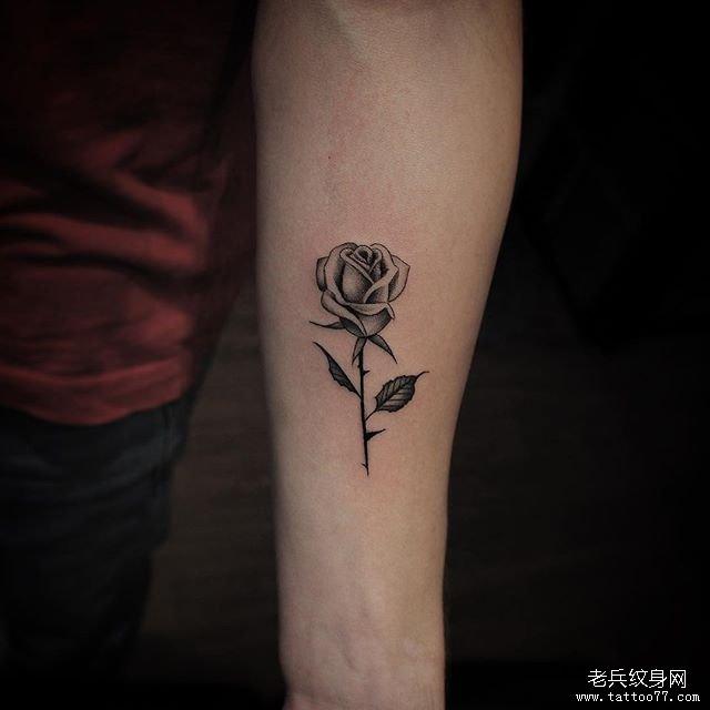手臂黑灰玫瑰花纹身图案