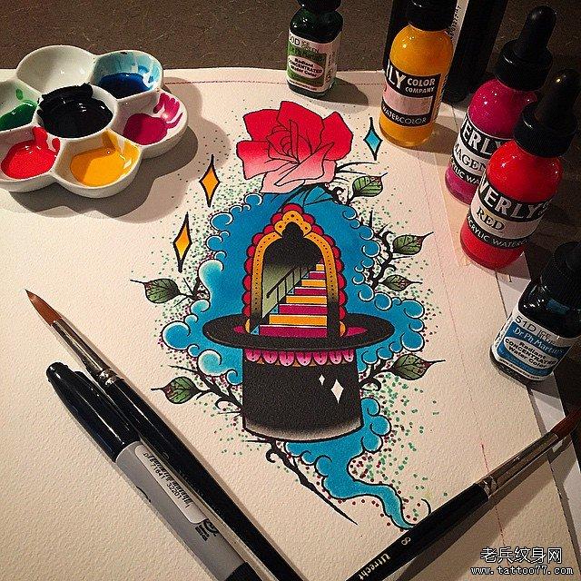 彩色school帽子纹身图案