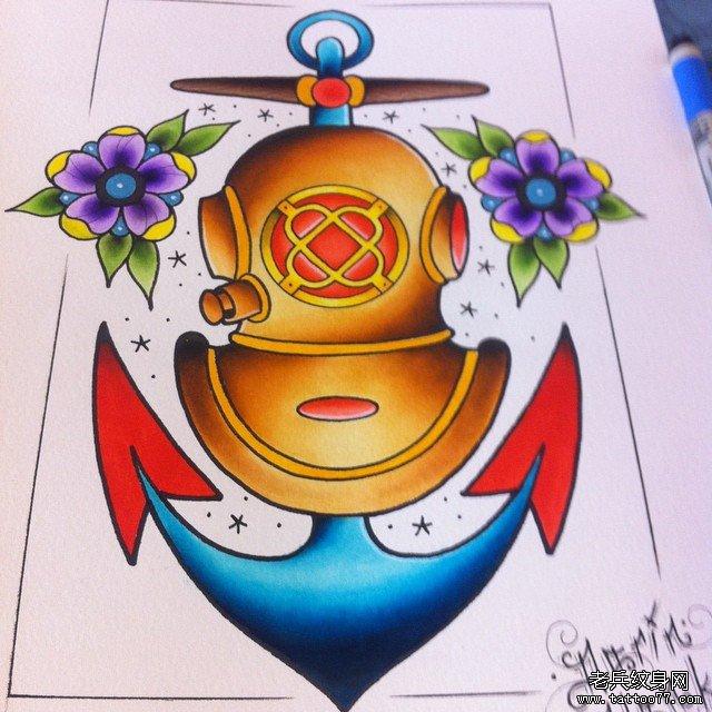 彩色school船锚纹身图案